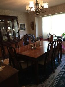 Large dining room table with 6 chairs- oriental style