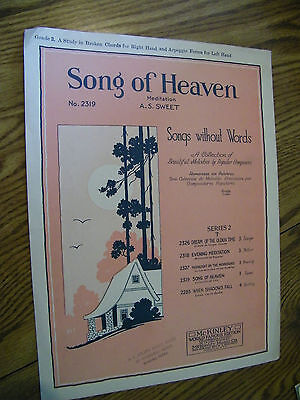 SHEET MUSIC SONG OF HEAVEN MEDITATION A.S. SWEET SONGS WITHOUT WORDS
