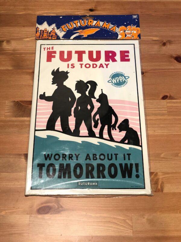 "Futurama Metal Sign Original Large Size NEW ""The Future Is Today"" ITEM #651"