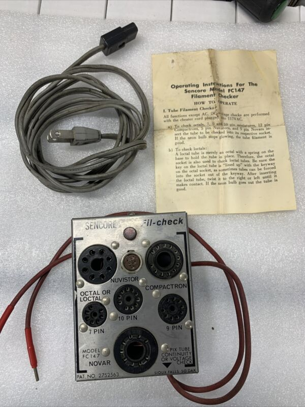 Vintage SENCORE FIL-CHECK MODEL FC147 TUBE TESTER RADIO TV VACCUM GLASS