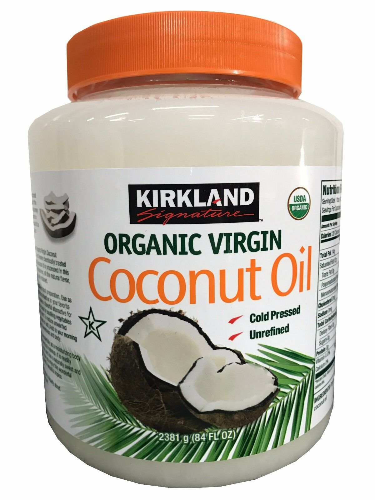 2X Kirkland Organic Coconut Oil Virgin Unrefined Cold Presse