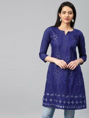 Women Indian Cotton Kurti Lucknawi Chikankari Handmade Designer Kurta Tunic Top