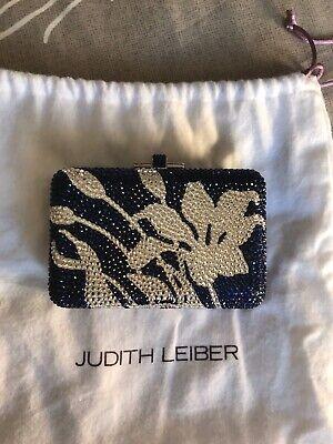 JUDITH LEIBER Blue/White Flower Patterned Embellished Clutch ... Brand New.