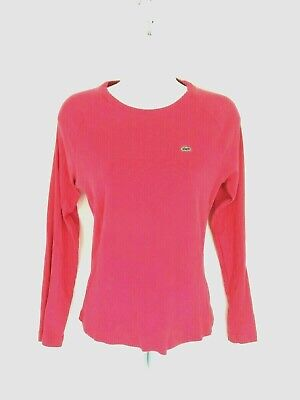 Lacoste Women's 42  Strawberry Pink Long Sleeve T Shirt Cotton Top fits 8-10