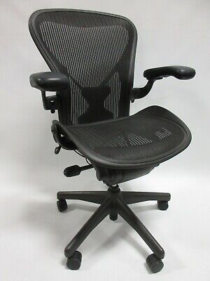 Herman Miller Aeron Chair - Size B Fully Adjustable With Posture-fit In Black