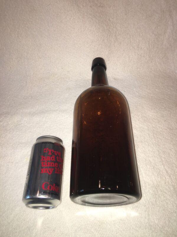 """Large Antique Blown Deep Amber Glass Bottle Ca. 1900 13"""" Tall Cork"""
