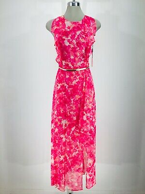 Calvin Klein New WT CORAL MULTI Belted ruffled cold shoulders long Dress 6 -