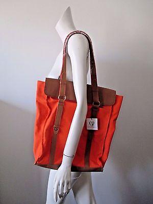 - NWT Charlotte Ronson Orange Nutmeg Leather Trims Canvas Tote Shoulder Bag $198