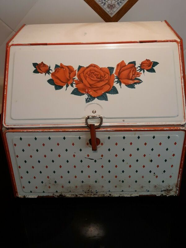 Vintage Metal Pie Safe Bread Box Double Shelf With Red Roses