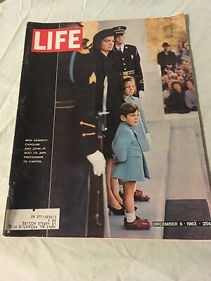 LIFE Magazine DEC 6 1963 Jackie Kennedy & Children JFK Funeral Free Shipping