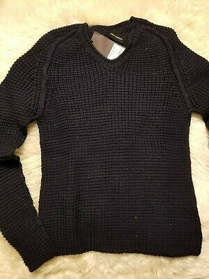 NWT ISABEL BENENATO WOOL SWEATER MADE IN ITALY M GUIDI JULIUS NAVY BLUE V-NECK