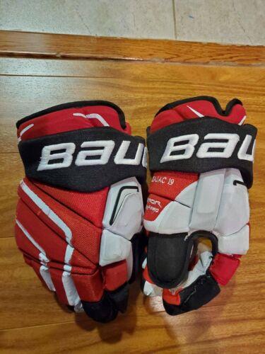 "Bauer APX2 Pro 14"" Pro Stock Hockey Gloves NJ Devils Travis Zajac UPGRADED"