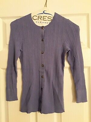ANN TAYLOR Blue Front Button Up Stretch Knit Cardigan Sweater xs ()
