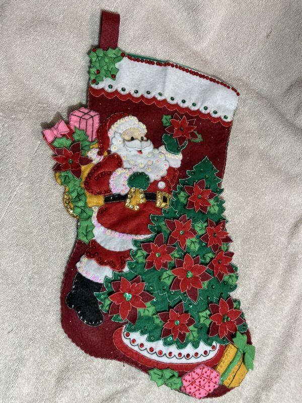 Bucilla 86142 Holiday Christmas Stocking COMPLETE HAND MADE