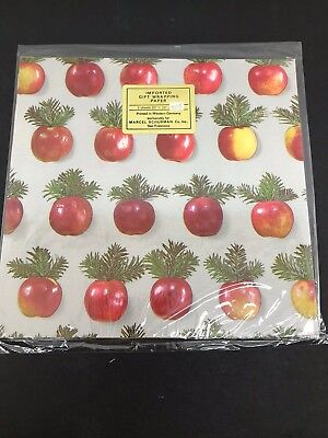 VINTAGE APPLE TREE IMPORTED GIFT WRAP WRAPPING PAPER MARCEL SCHURMAN CO. - Apple Gift Wrap