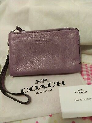 COACH Lilac Pink Textured Leather Metallic Zip Wristlet Purse with pouch
