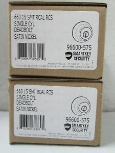 Lot of 2 Kwikset Satin Nickel Smartkey Single Cylinder Deadbolt Lock 660 15 SMT
