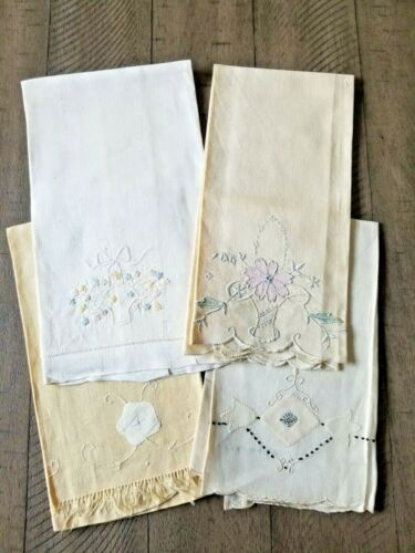 Lot of 4 antique hand towels, with embroidery & piece work