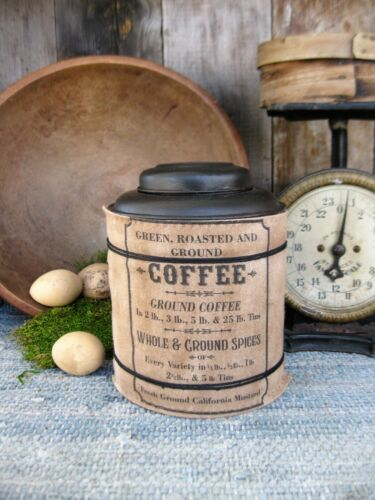 Early Antique Pantry Tin Homespun Sleeve Coffee