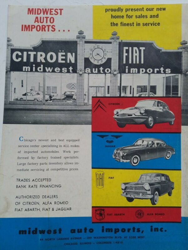 1960 Midwest Auto Imports Citroen Jaguar Fiat car dealership vintage ad
