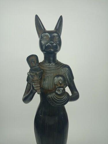RARE ANTIQUE ANCIENT EGYPTIAN Statue Goddess Bastet Cat Protection 1720-1680 Bc