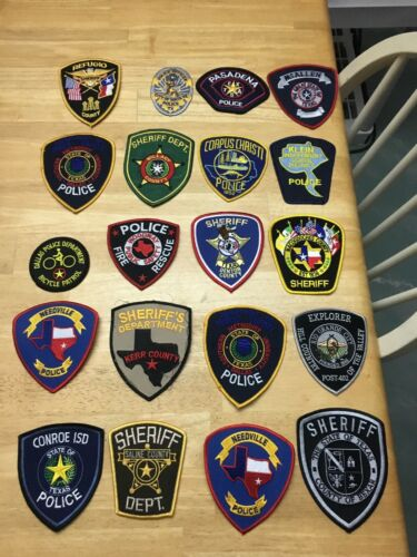 NICE LOT OF 20 TEXAS POLICE  SHOULDER PATCHES  TX10