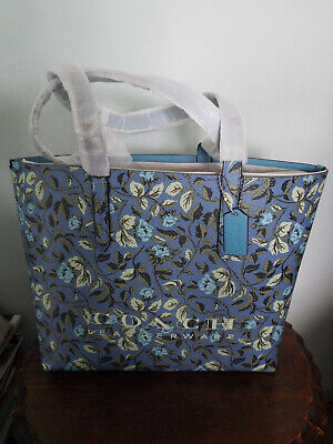COACH BLUE HIGHLINE TOTE WITH FLORAL PRINT