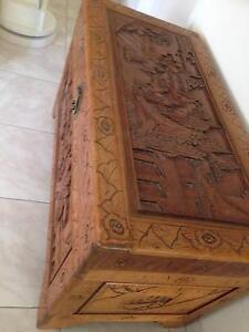 ANTIQUE VINTAGE CHINESE CAMPHOR  BLANKET BOX / COFFEE TABLE CHEST Coburg Moreland Area Preview