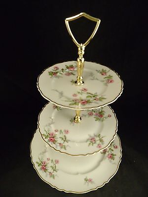HAVILAND SYLVIA 3 TIER PARTY TRAY Perfect PINK ROSES GOLD TRIM