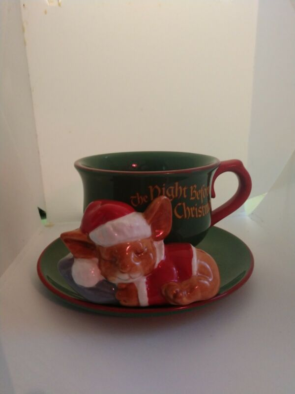 Teleflora The Night Before Christmas Cup and Saucer Decorative Sleeping Mouse c