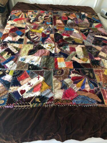 """True Vintage Handmade Grandma Embroidered Stitch Crazy Quilt Blanket 76"""" x 66"""""""