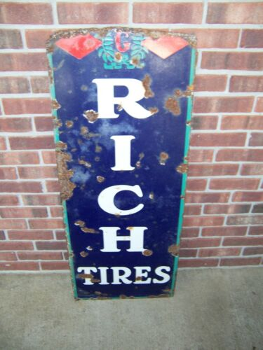 "Vintage Partial BF Goodrich Tires Porcelain Advertising Sign 45"" x 17 3/4"""