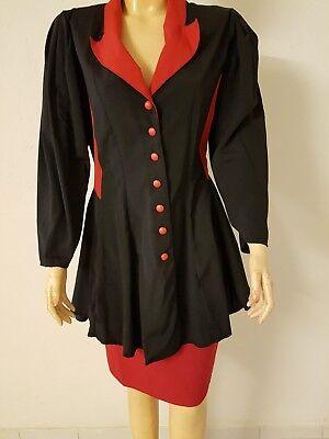 Neu Vintage Kostüm Bluse und Rock Größe 36 schwarz rot 80er Jahre