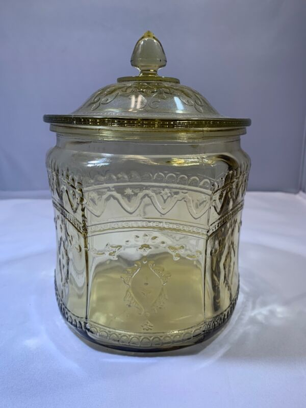 """Depression Glass Patrician """"Spoke"""" Cookie Jar & Cover (Amber)"""