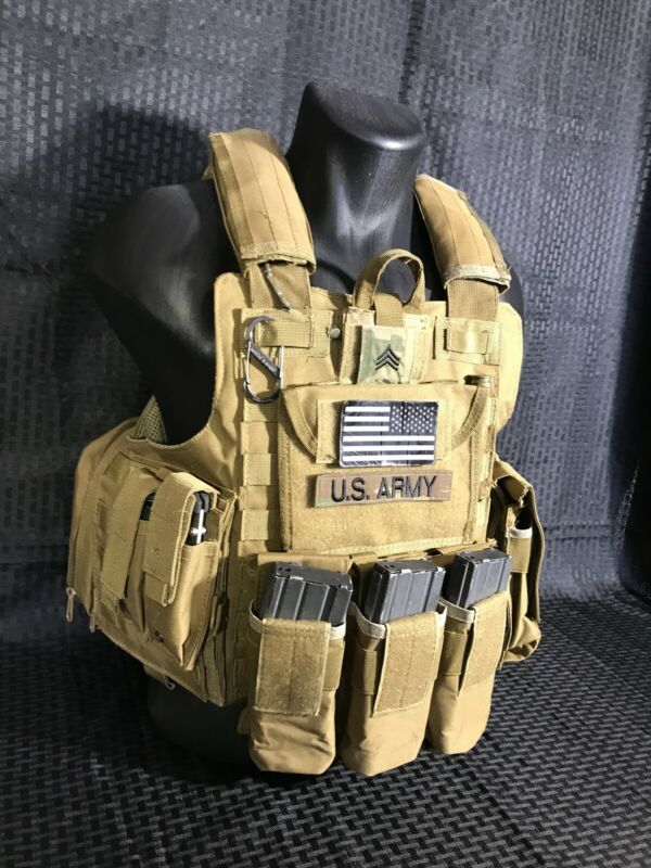 Tactical Vest COYOTE FDE Tan Plate Carrier Military Matches Multicam- Adjustable