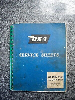 Original BSA Service Sheets 500/650 OHV Twin, A Group with swinging arm