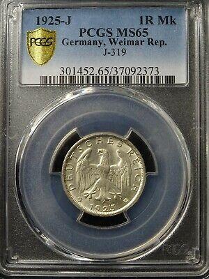 Weimar Rep., 1925-J 1 Reichsmark PCGS MS 65 Wunderschön / Gute Gelegenheit!!