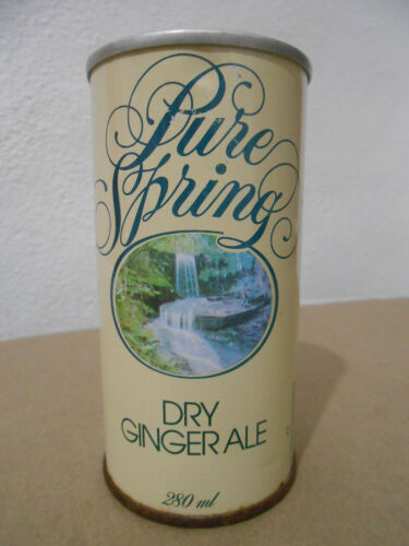 PURE SPRING GINGER ALE COLA STRAIGHT SIDE PUSH TAB 280ML SODA CAN * TORONTO