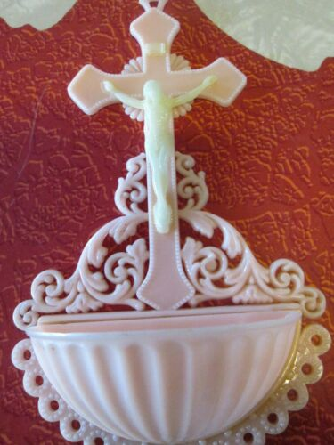 """Vintage Catholic Holy Water Font Wall PINK Glow in the Dark Plastic 6"""" by 4"""""""