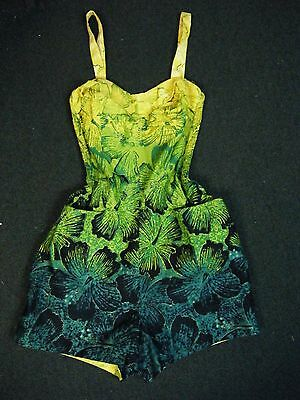 Vintage Alfred Shaheen Honolulu Romper Playsuit Bathing Suit Swimsuit Blue Paint