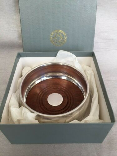 135g Payne & Son Ltd HM 925 Solid Silver Wine Bottle Coaster Wooden Base Boxed