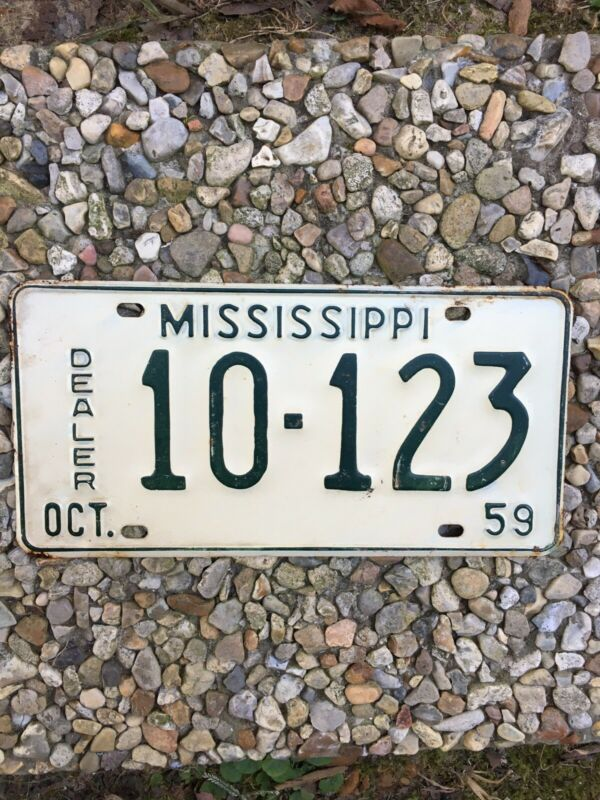 Rare 1959 Mississippi Dealer Car Tag