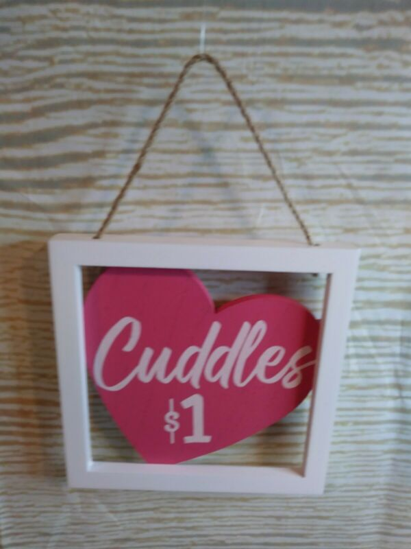 "New! ""CUDDLES $1"" Heart Wood Sign Farmhouse Valentines Mom Day Tier Wreath Craft"
