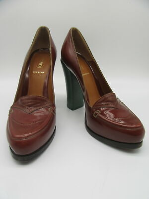 FENDI brown platform loafer heels sz 37.5