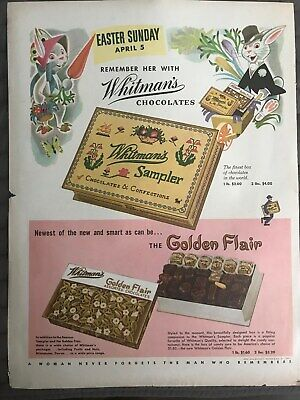 Whitmans Chocolate Sampler~Easter Remember Her~1952 Vintage Print AD A74