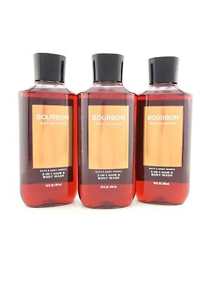 Bath Body Works 3 Bourbon 2 in 1 Hair & Body Wash Shower Gel
