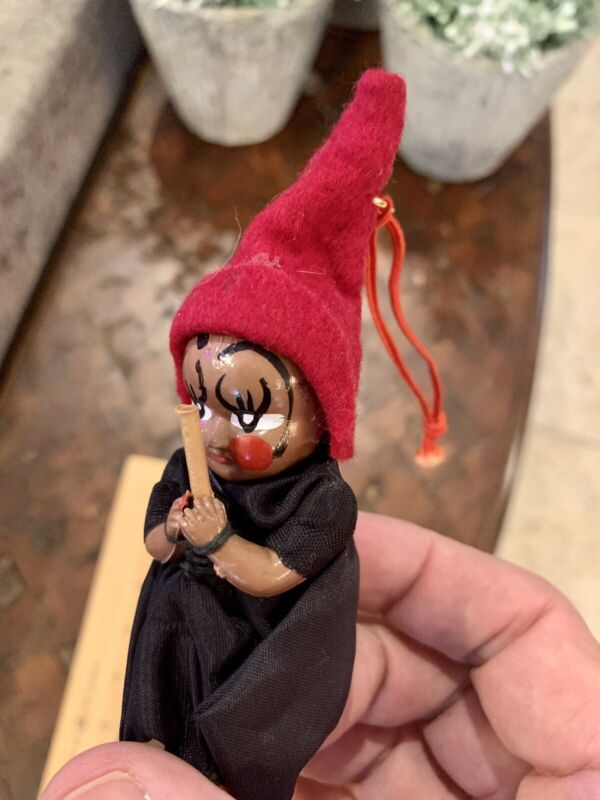 Unique Vintage Halloween Witch Ornament Painted Brown Straw Hair Broom