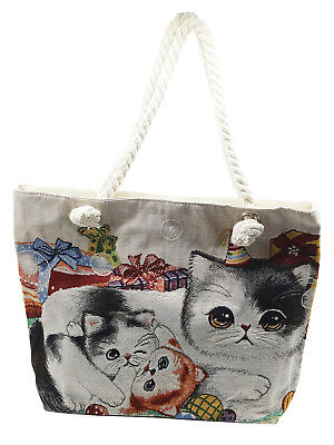 Adult Shoping ( Ladies 3 Cat Print cotton Rope Handle Shoulder Shoping Bag)