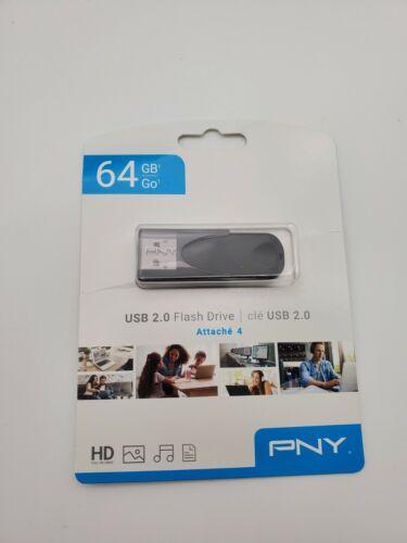 PNY Elite Turbo Attache 4 64GB USB 2.0  Flash Drive Gray/