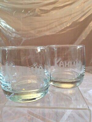 Kahlua Gift Glasses Liquor Cocktail Rocks Low Ball Frosted Brand Logo 6oz Set 2